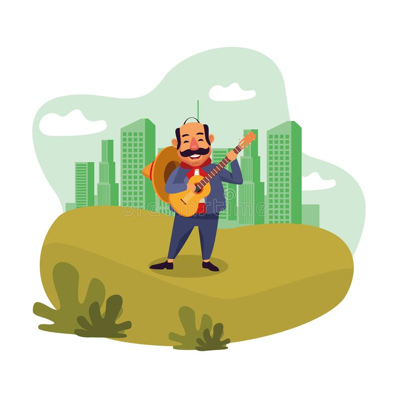 Mexican food and tradicional culture. With a mariachis man with mexican hat, moustache and guitar over the grass with cityscape, skyscraper and clouds vector vector illustration
