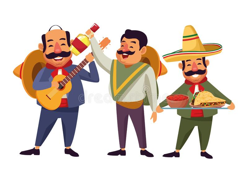 Mexican food and tradicional culture. With a mariachis man with mexican hat, moustache and guitar, man with mexican hat, moustache and tequila bottle and man stock illustration