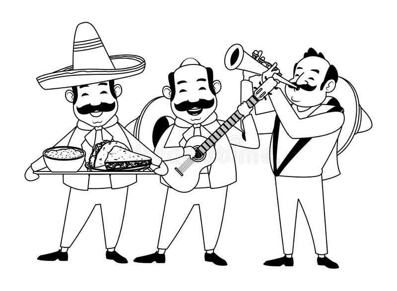 Mexican food and tradicional culture in black and white. Mexican food and tradicional culture with a mariachis man with mexican hat, moustache and guitar, man royalty free illustration