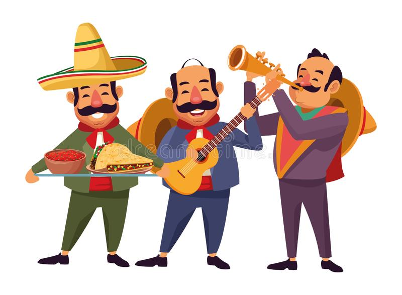 Mexican food and tradicional culture. With a mariachis man with mexican hat, moustache and guitar, man with mexican hat, moustache and trumpet and man with royalty free illustration