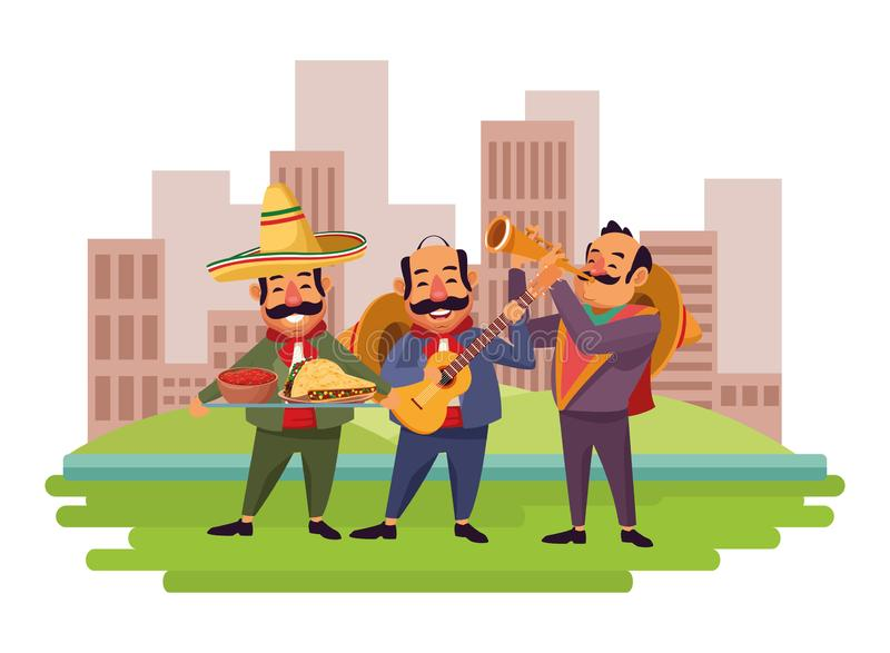 Mexican food and tradicional culture. With a mariachis man with mexican hat, moustache and guitar, man with mexican hat, moustache and trumpet and man with stock illustration