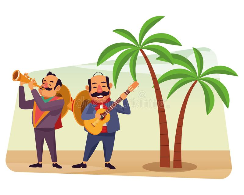 Mexican food and tradicional culture. With a mariachis man with mexican hat, moustache and guitar and man with mexican hat, moustache and trumpet over the sand royalty free illustration