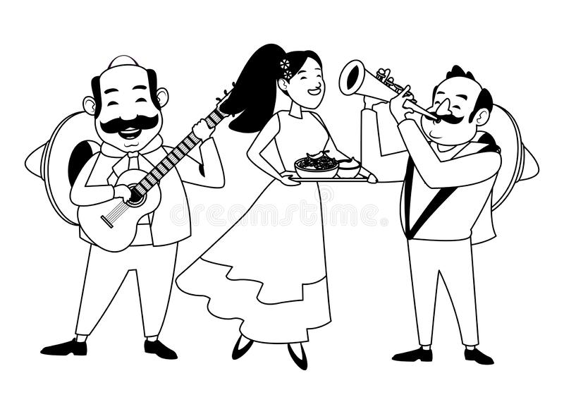 Mexican food and tradicional culture in black and white. Mexican food and tradicional culture with a mariachis man with mexican hat, moustache and guitar, man stock illustration