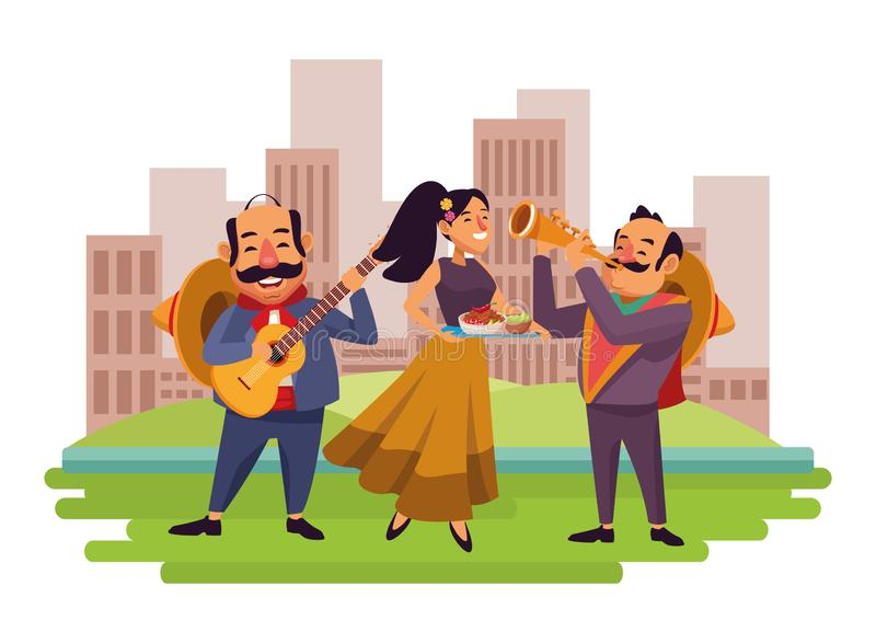 Mexican food and tradicional culture. With a mariachis man with mexican hat, moustache and guitar, man with mexican hat, moustache and trumpet and woman holding vector illustration