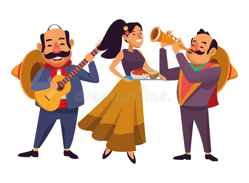 Mexican food and tradicional culture. With a mariachis man with mexican hat, moustache and guitar, man with mexican hat, moustache and trumpet and woman holding stock illustration