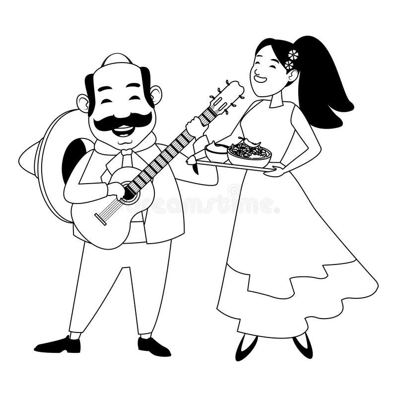 Mexican food and tradicional culture in black and white. Mexican food and tradicional culture with a mariachis man with mexican hat, moustache and guitar and royalty free illustration