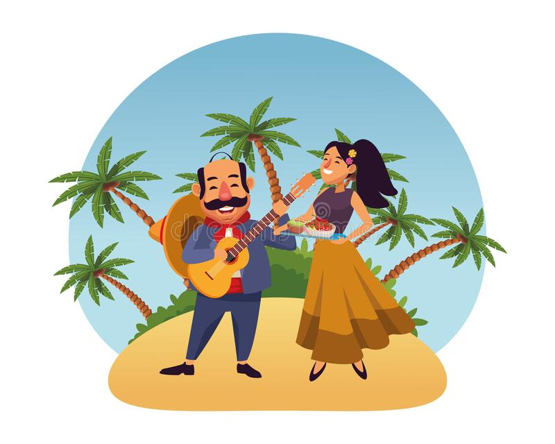 Mexican food and tradicional culture. With a mariachis man with mexican hat, moustache and guitar and woman holding a tray with chili, beans and guacamole over royalty free illustration