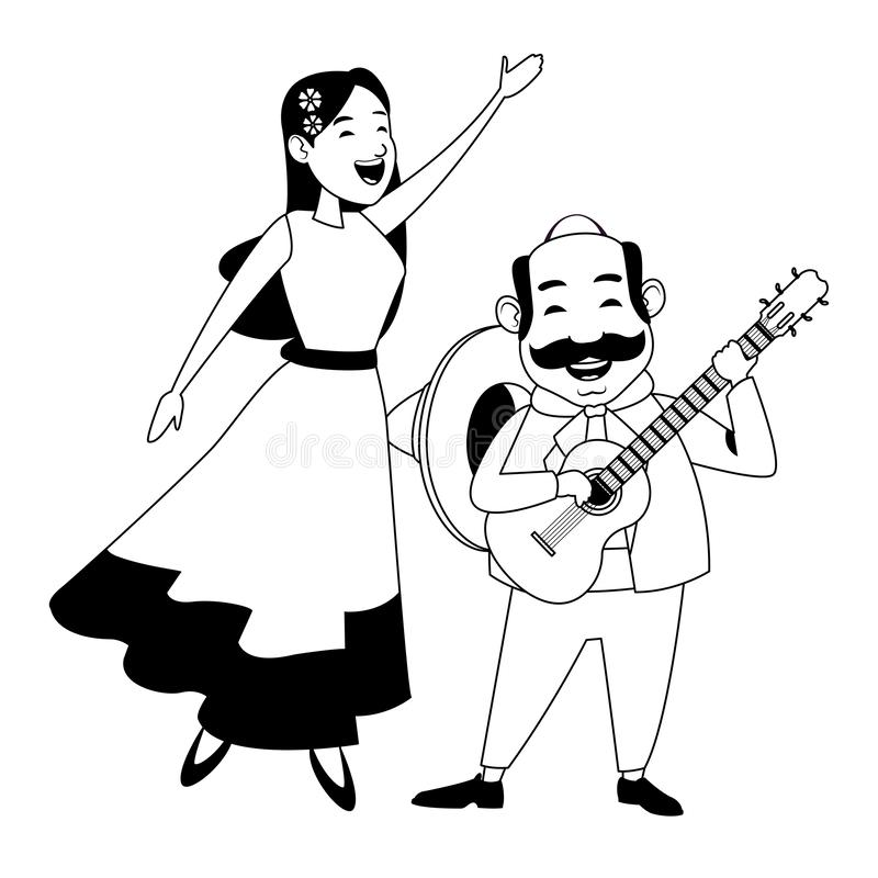 Mexican food and tradicional culture in black and white. Mexican food and tradicional culture with a mariachis woman singing with roses in her hair and man with vector illustration