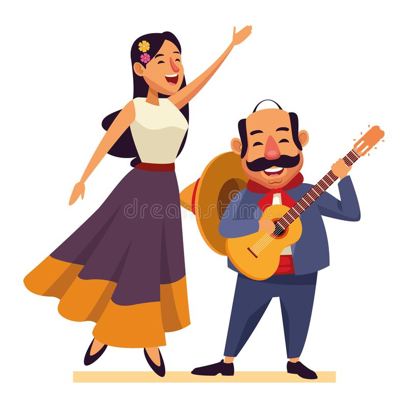 Mexican food and tradicional culture. With a mariachis woman singing with roses in her hair and man with mexican hat, moustache and guitar avatar cartoon vector illustration