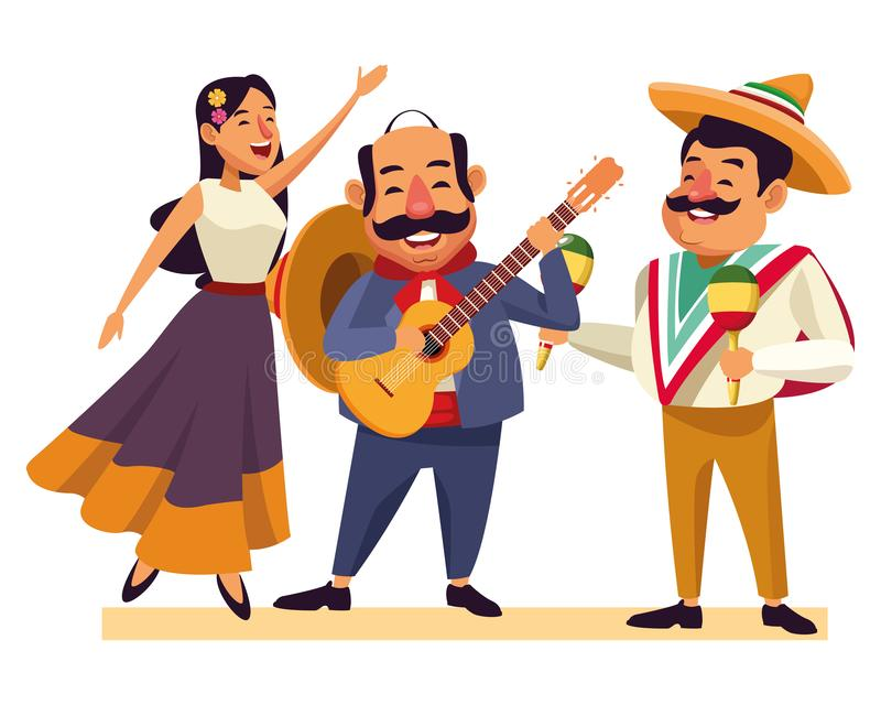 Mexican food and tradicional culture. With a mariachis woman singing with roses in her hair, man with mexican hat, moustache and guitar and man with mexican hat royalty free illustration