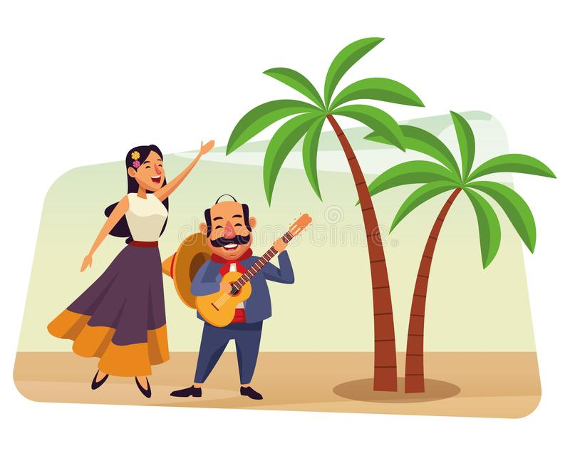 Mexican food and tradicional culture. With a mariachis woman singing with roses in her hair and man with mexican hat, moustache and guitar over the sand with vector illustration