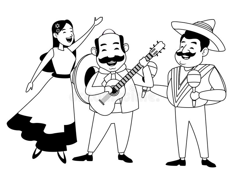 Mexican food and tradicional culture in black and white. Mexican food and tradicional culture with a mariachis woman singing with roses in her hair, man with royalty free illustration