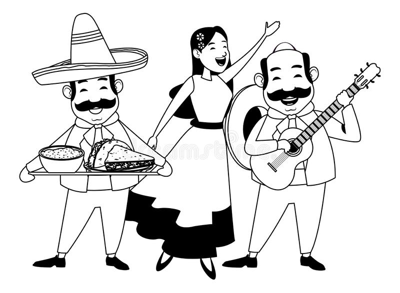 Mexican food and tradicional culture in black and white. Mexican food and tradicional culture with a mariachis woman singing with roses in her hair, man with stock illustration
