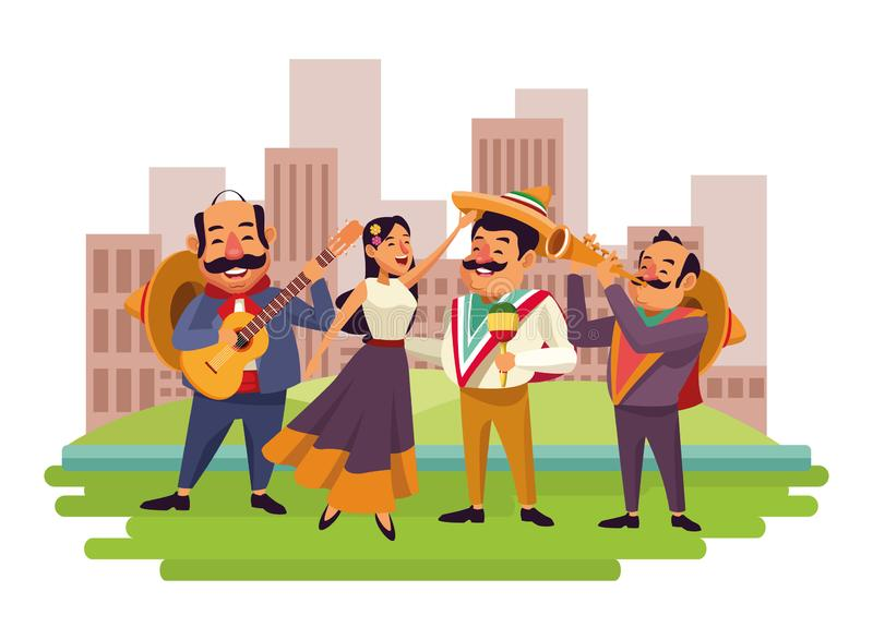 Mexican food and tradicional culture. With a mariachis woman singing with roses in her hair, man with mexican hat, moustache and guitar, man with mexican hat vector illustration