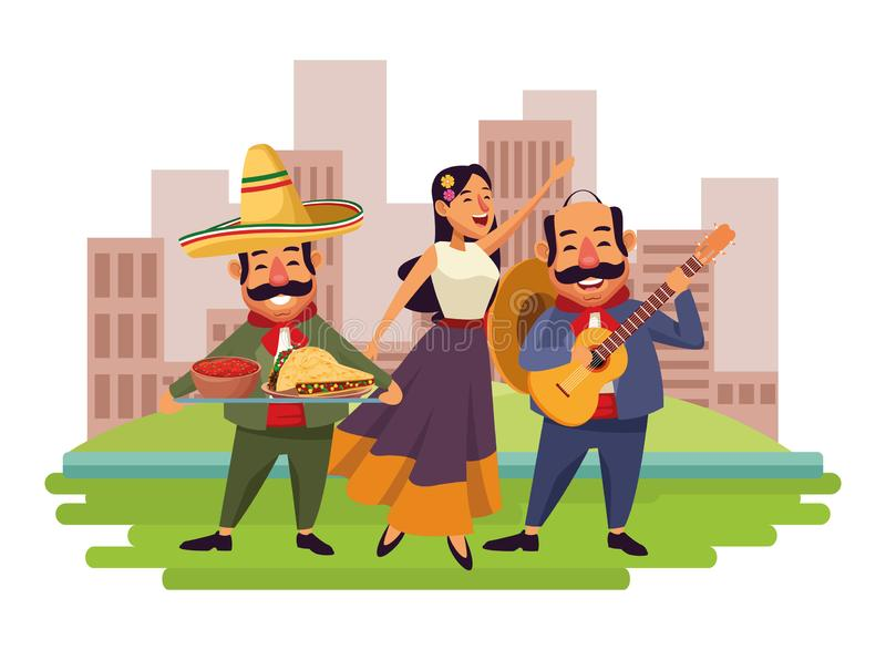 Mexican food and tradicional culture. With a mariachis woman singing with roses in her hair, man with mexican hat, moustache and guitar and man with moustache stock illustration
