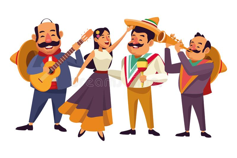 Mexican food and tradicional culture. With a mariachis woman singing with roses in her hair, man with mexican hat, moustache and guitar, man with mexican hat stock illustration
