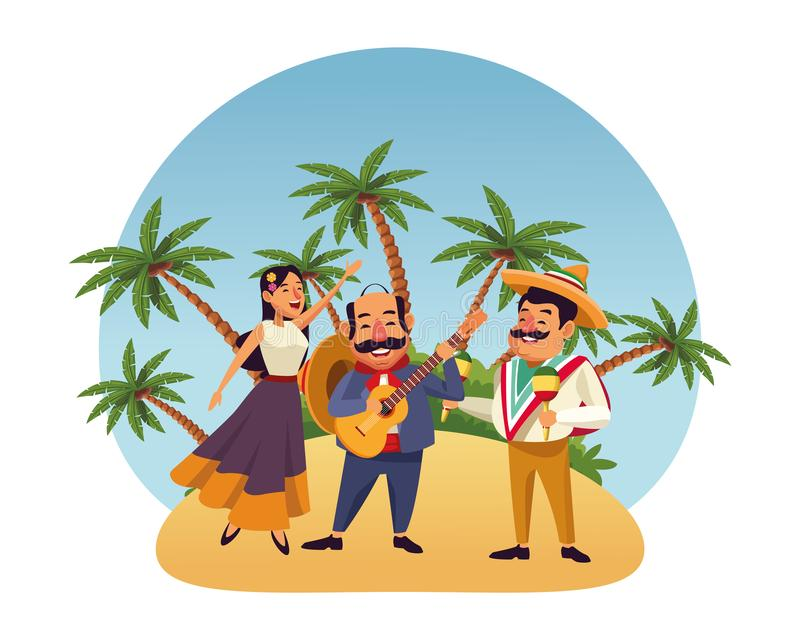 Mexican food and tradicional culture. With a mariachis woman singing with roses in her hair, man with mexican hat, moustache and guitar and man with mexican hat stock illustration