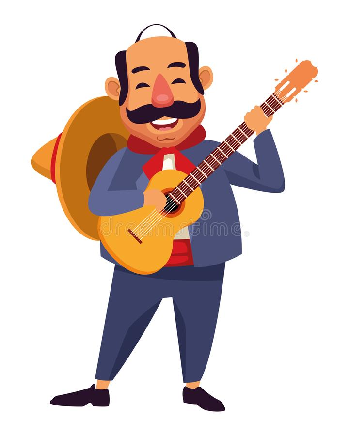 Mexican food and tradicional culture. With a mariachis man with mexican hat, moustache and guitar avatar cartoon character portrait vector illustration graphic vector illustration