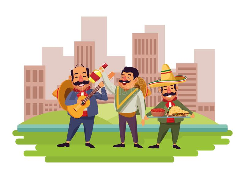 Mexican food and tradicional culture. With a mariachis man with mexican hat, moustache and guitar, man with mexican hat, moustache and tequila bottle and man vector illustration