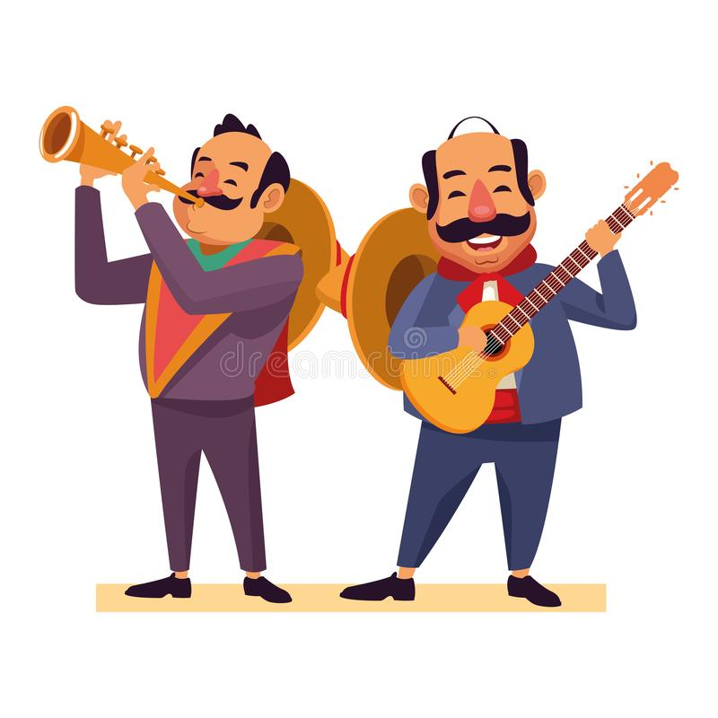Mexican food and tradicional culture. With a mariachis man with mexican hat, moustache and guitar and man with mexican hat, moustache and trumpet avatar cartoon stock illustration
