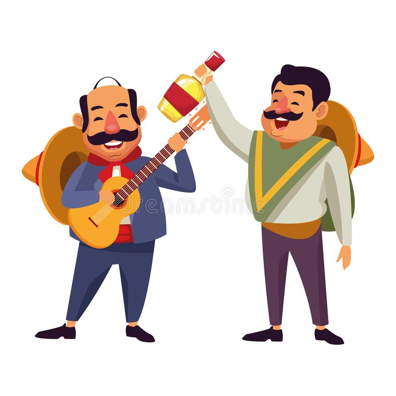 Mexican food and tradicional culture. With a mariachis man with mexican hat, moustache and guitar and man with mexican hat, moustache and tequila bottle avatar royalty free illustration