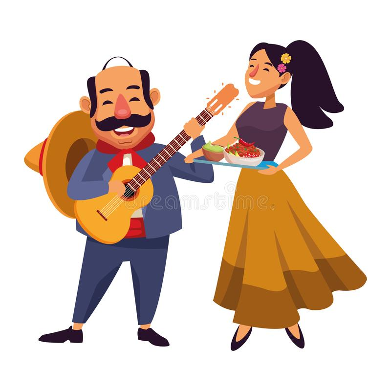 Mexican food and tradicional culture. With a mariachis man with mexican hat, moustache and guitar and woman holding a tray with chili, beans and guacamole stock illustration
