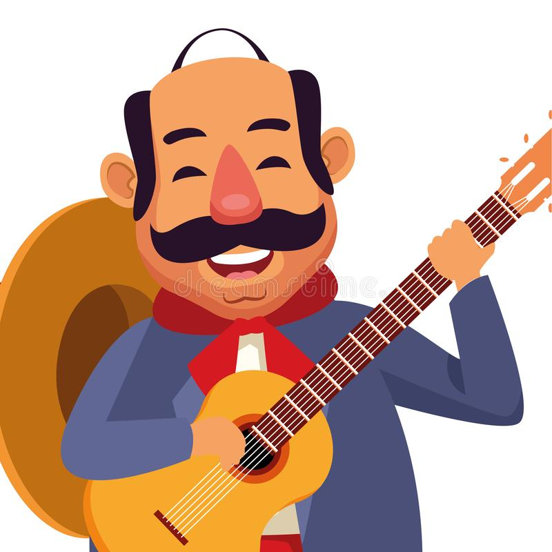 Mexican food and tradicional culture. With a mariachis man with mexican hat, moustache and guitar closeup avatar cartoon character portrait vector illustration royalty free illustration