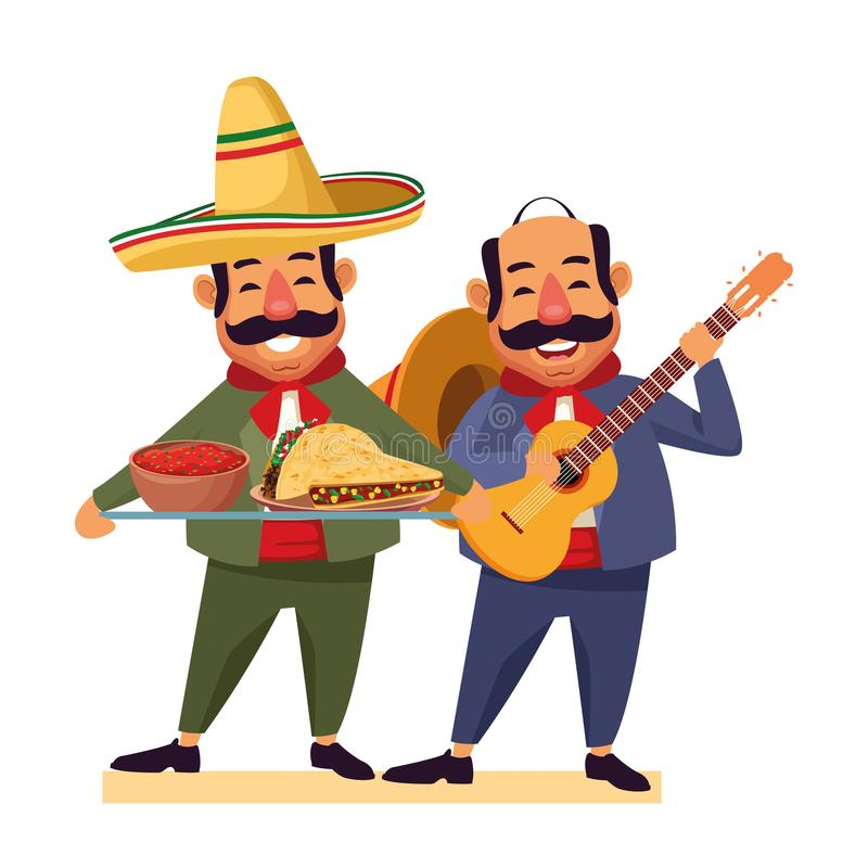 Mexican food and tradicional culture. With a mariachis man with mexican hat, moustache and guitar and man with moustache and mexican hat holding a tray with vector illustration