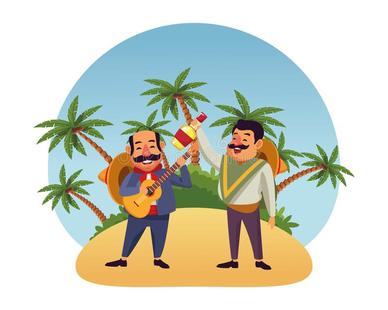 Mexican food and tradicional culture. With a mariachis man with mexican hat, moustache and guitar and man with mexican hat, moustache and tequila bottle over vector illustration