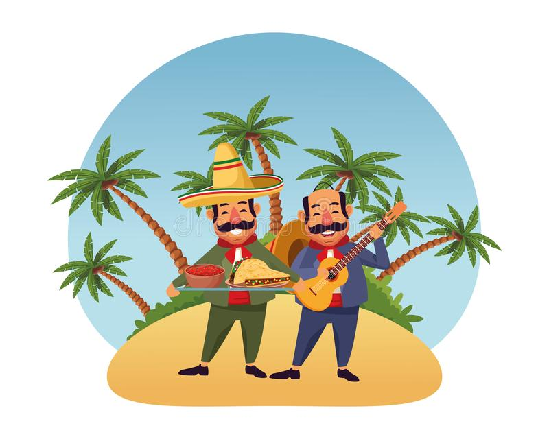 Mexican food and tradicional culture. With a mariachis man with mexican hat, moustache and guitar and man with moustache and mexican hat holding a tray with royalty free illustration