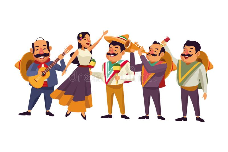 Mexican food and tradicional culture. With a mariachis woman singing with roses in her hair, man with mexican hat, moustache and guitar, man with mexican hat royalty free illustration