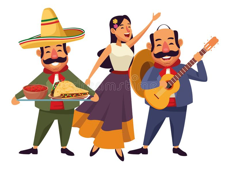 Mexican food and tradicional culture. With a mariachis woman singing with roses in her hair, man with mexican hat, moustache and guitar and man with moustache vector illustration
