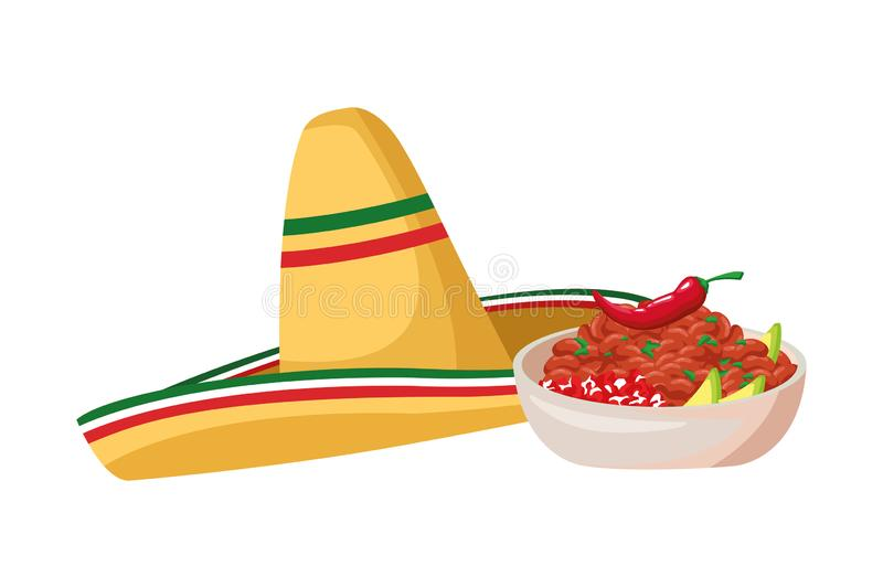 Mexican food and tradicional culture. With a mexican hat, bowl with beans and chili pepper icon cartoon vector illustration graphic design vector illustration
