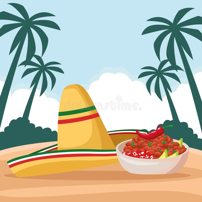 Mexican food and tradicional culture. With a mexican hat, bowl with beans and chili pepper icon cartoon over the sand with palms and cloud in tropical lanscape vector illustration