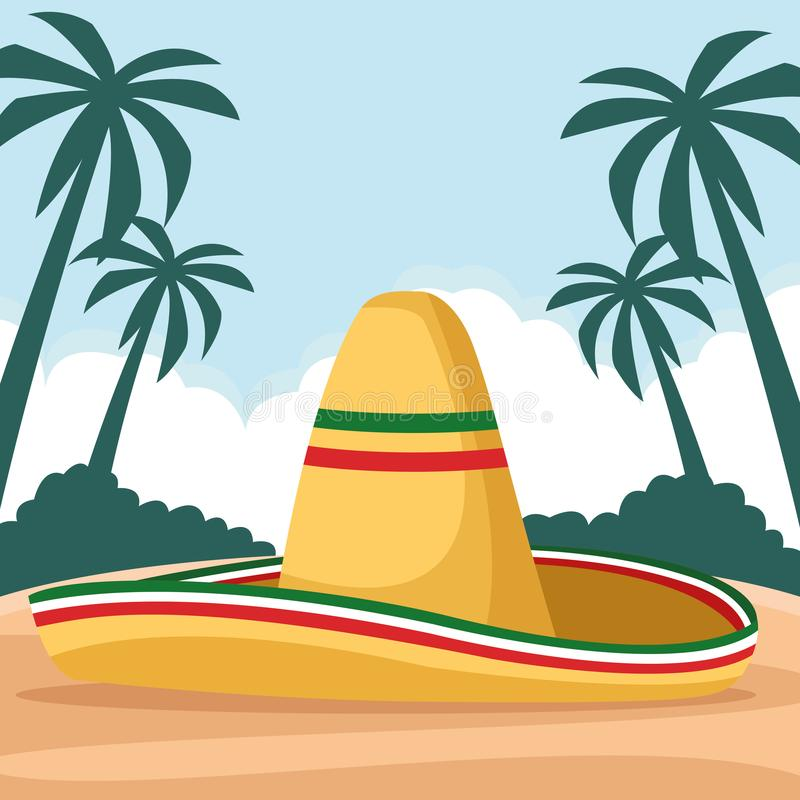 Mexican food and tradicional culture. With a mexican hat icon cartoon over the sand with palms and cloud in tropical lanscape vector illustration graphic design stock illustration