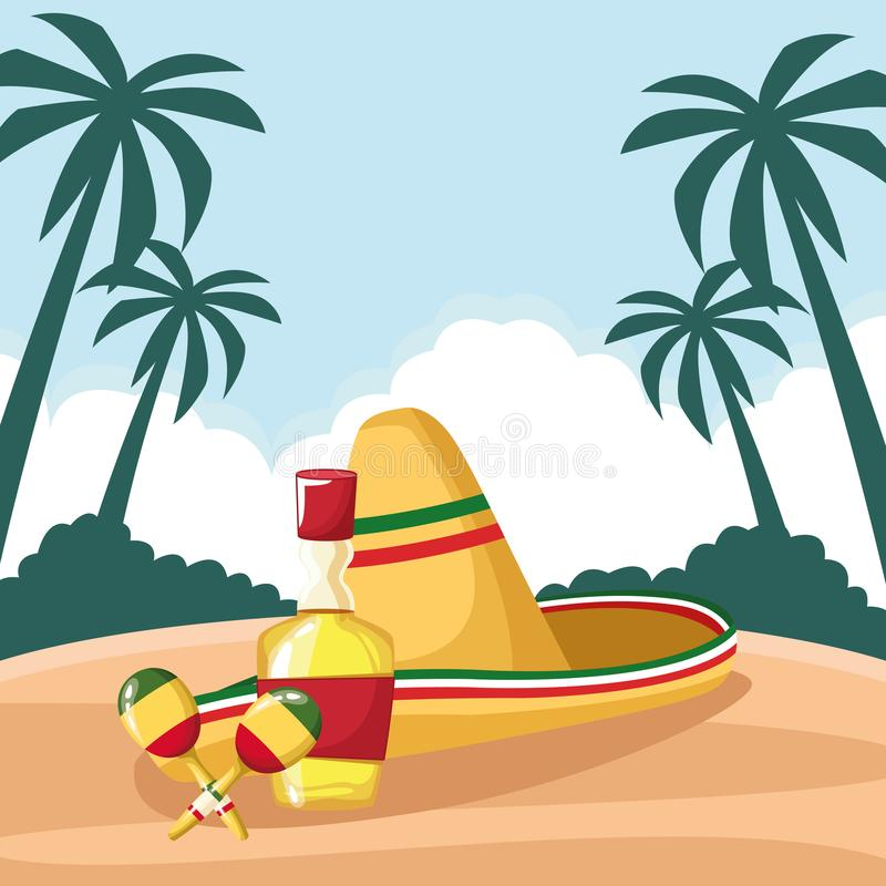 Mexican food and tradicional culture. With a mexican hat, macaras and tequila bottle icon cartoon over the sand with palms and cloud in tropical lanscape vector vector illustration
