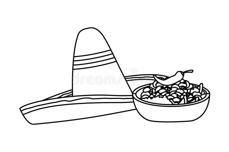 Mexican food and tradicional culture in black and white. Mexican food and tradicional culture with a mexican hat, bowl with beans and chili pepper icon cartoon stock illustration