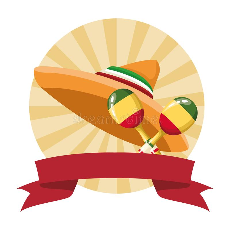 Mexican food and tradicional culture. With a mexican hat icon cartoon in round icon pop art background with ribbon banner vector illustration graphic design royalty free illustration