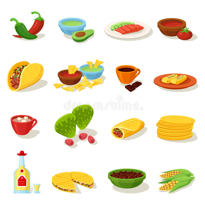 Mexican food traditional menu icon set stock illustration