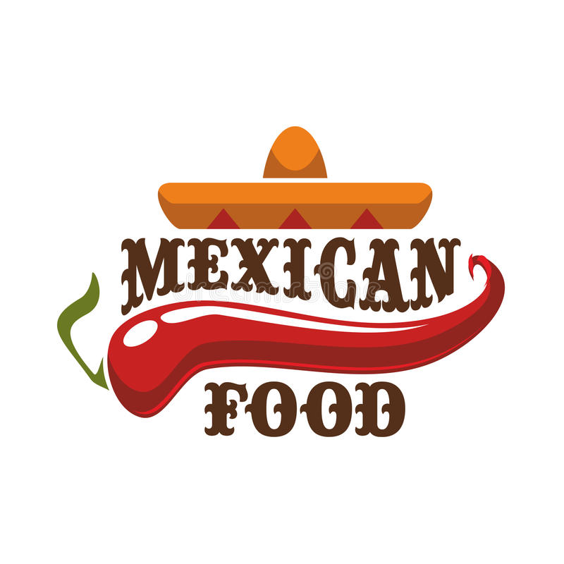 Mexican food vector icon or emblem. Mexican spicy and hot traditional food icon. Badge for mexican burrito fast food, tacos snack bar or authentic mexican royalty free illustration