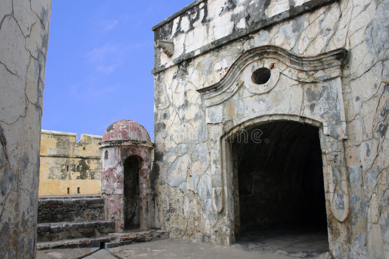 Mexican Fort. Fort in Vera Cruz Mexico. After being a fort in the 17th or 18th centurey it later became a Jail stock photo