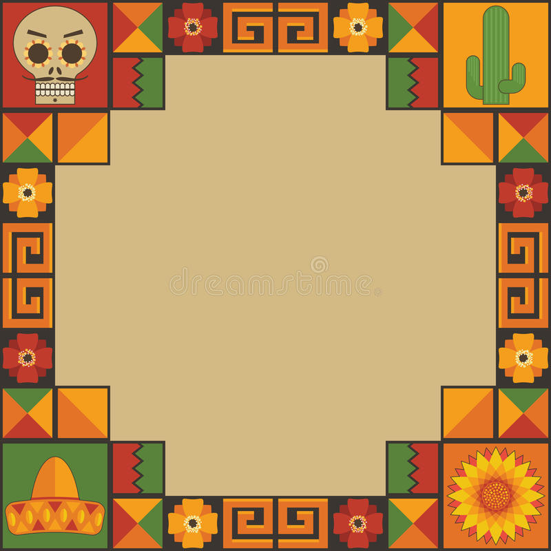 Mexican frame decoration vector illustration