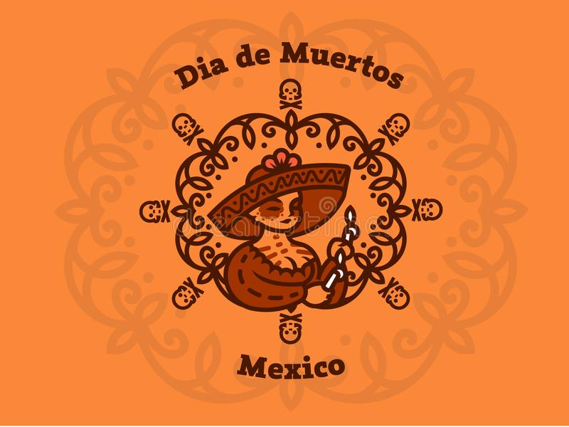 Mexican Girl in a sombrero holds candles. vector illustration