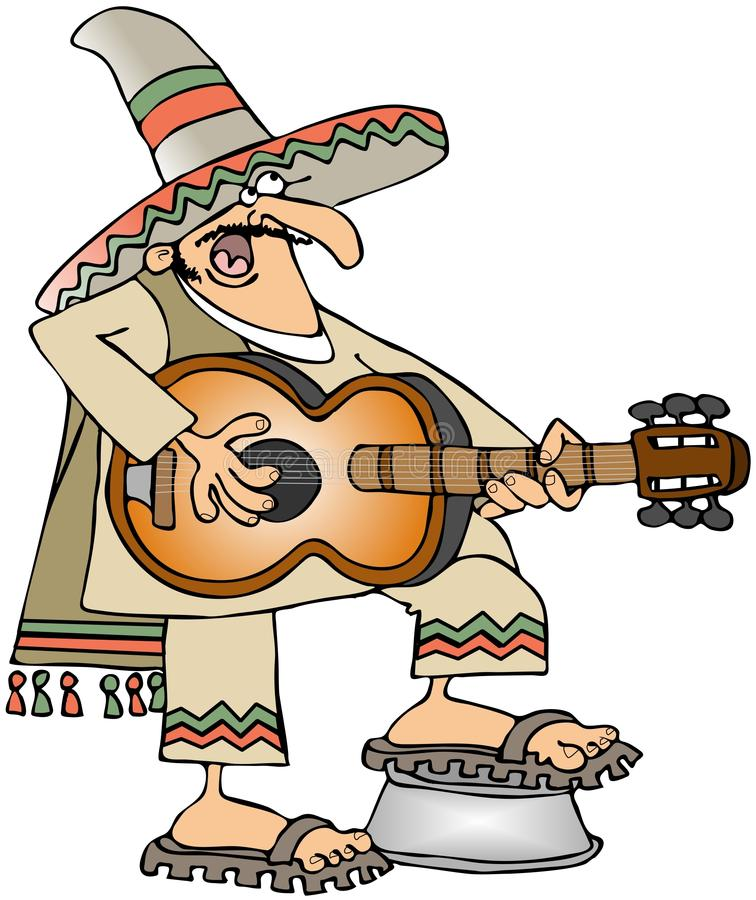 Mexican Guitar Player stock illustration