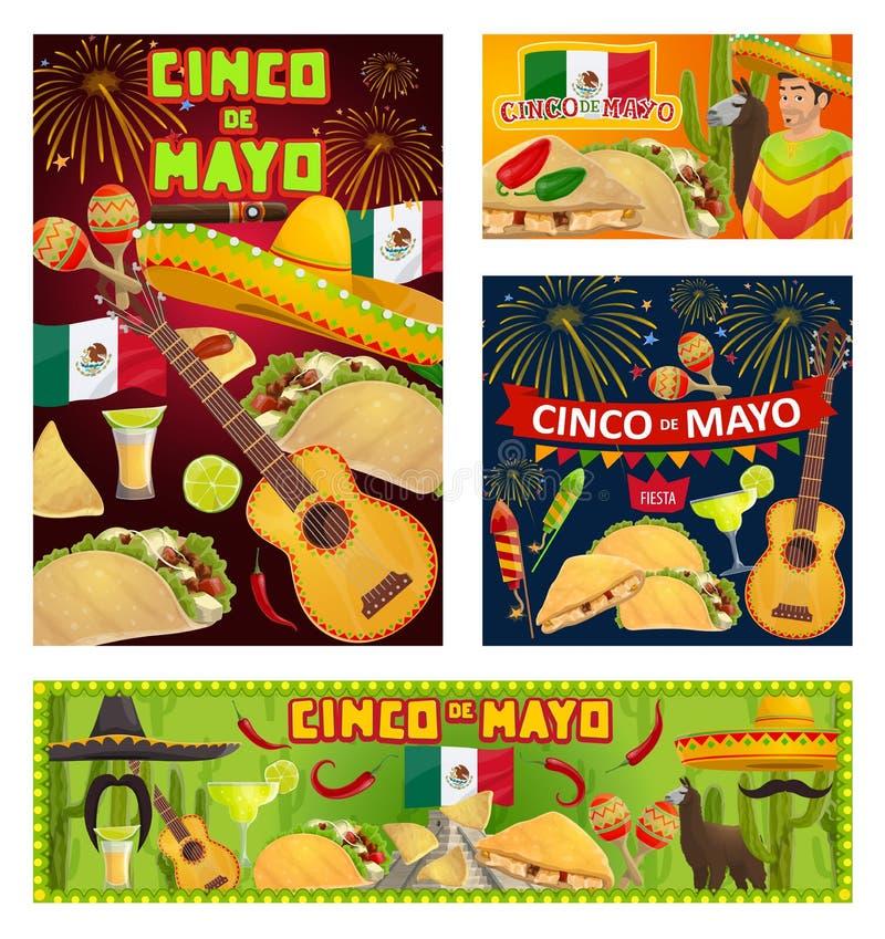 Mexican guitars, sombreros, Cinco de Mayo party. Mexican fiesta party of Cinco de Mayo holiday invitations. Vector sombreros, guitars and maracas, tequila vector illustration
