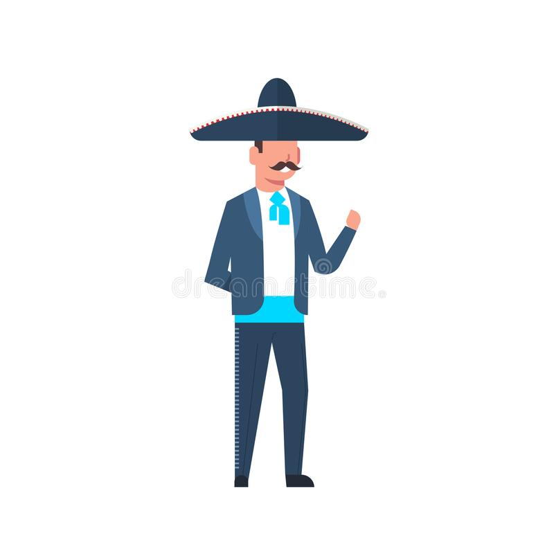 Mexican Guy In Traditional Costume And Sombrero Hat With Mustache Isolated On White Background. Flat Vector Illustration stock illustration