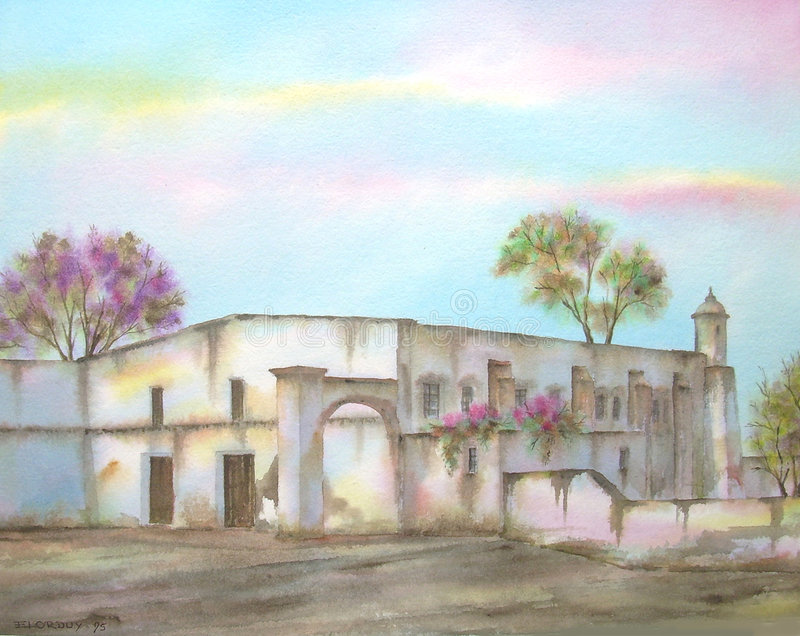 Download Mexican Hacienda On Michoacan Stock Illustration - Image: 2866338