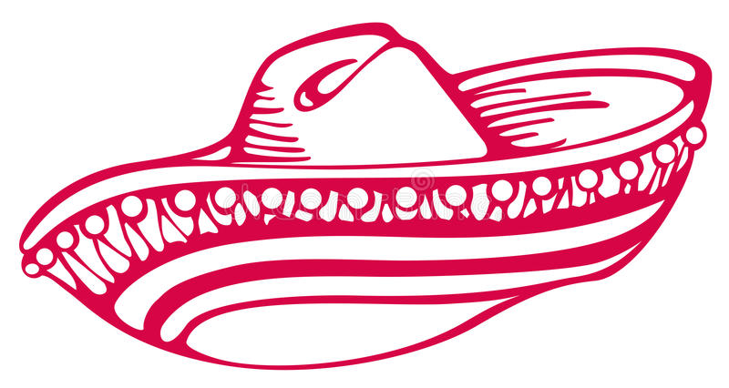 Mexican hat. Drawing of red mexican hat in a white background vector illustration
