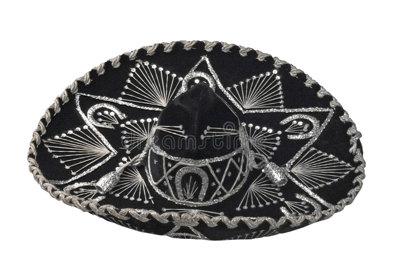 Mexican hat. Elegant mexican mariachi hat with silvery decorations royalty free stock image