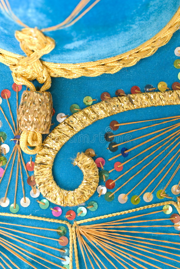 Mexican Hat. Detail of Blue Mexican Mariachi hat royalty free stock photo